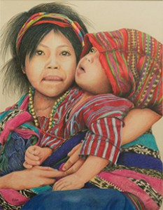 Love of Mother & Child Across Cultures is a colored pencil piece of artwork created by Kathy Enos.