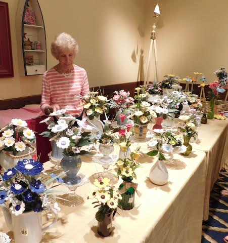 Phillis Luft and her floral ceramics.