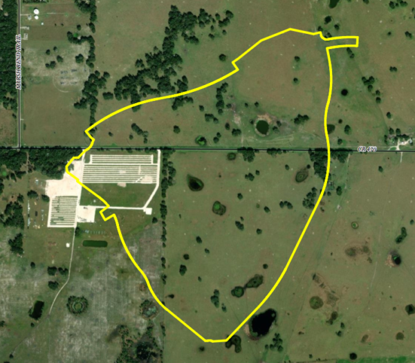 This aerial view shows the 387 acre site tha spans both sides of County Road 470.